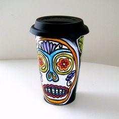 Black Ceramic Travel Mug Hand Painted Sugar Skull by sewZinski