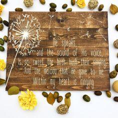 In the Garden Pallet Sign In the Garden Hymn Sign Wooden Wooden Pallet Wall, Pallet Wall Art, Pallet Walls, Wooden Pallet Projects, Pallet Crafts, In The Garden Hymn, Hymn Art, Words On Canvas, Garden Pallet