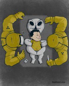 La verdad sobre la autopsia de Roswell. Ilustración por Nacho Diaz.
