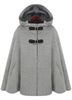 Grey hoodie cape wear