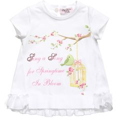 Monnalisa Bebe girls cute stretch cotton jersey t-shirt sings of spring time with the bird and flower print on the front with diamanté detail. This sweet top has a lovely slogan: 'Sing a Song for Springtime in Bloom' and a frilled hemline with tulle detail.<br /> <ul> <li>90% cotton, 10% elastane (soft stretch jersey)</li> <li>Machine wash (40*C)</li> <li>Made in Italy</li> </ul>