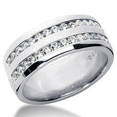 2mm Round Moissanite Channel Mens Ring