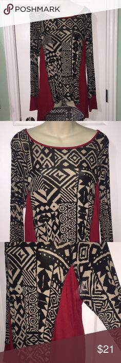 patterned red black and tan long sleeve says XL but fits better large- worn a couple times bobeau Tops Blouses
