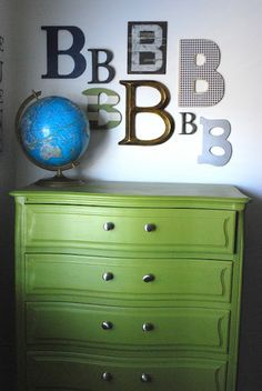 Simple and cute for a little boys room... love this painted green dresser!   from shabbynest.blogspot.com