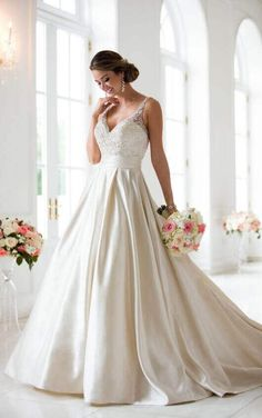 6447 Ball Gown Wedding Dress with Sash by Stella York