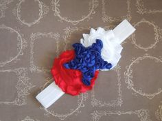 Red+White+&+Blue+Shabby+Chic+Headband+4th+of+by+SewCuteBoutiqueBow,+$7.95