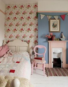 An addition of a floral feature wall can bring elegance to a child's bedroom. Also great for when they move out - you will still love it! Timeless!