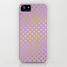 Lavender and Gold Polka Dots Pattern iPhone & iPod Case by heartlocked - $35.00