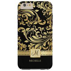Elegant Black and Gold Damask with Monogram Tough iPhone 6 Plus Case http://www.zazzle.com/elegant_black_and_gold_damask_with_monogram_case-256688583391142648?rf=238675983783752015