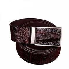 Men's Belts Dynamic Automatic Buckle Split Leather Men Casual Belts Black Blue Brown Crocodile Belt For Men High Quality Ceintures Homme