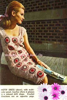 Vintage Crochet Pattern Motif granny square by GrandmaHadItGoinOn