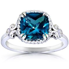Annello 14k White Goldplated Silver Cushion-cut London Blue Topaz Diamond Accent Ring (G-H, I1-I2) | Overstock™ Shopping - Top Rated Annello Gemstone Rings