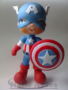 Capitão América para topo de bolo ou enfeite de mesa.