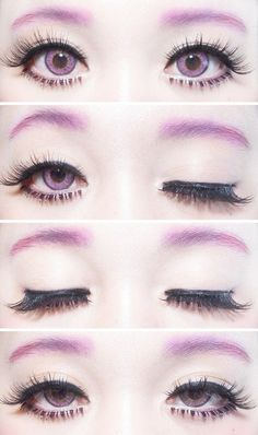 simple, kawaii pastel goth eye makeup