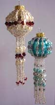 Fringed Beaded Christmas Ornament Cover Pattern by Carlene Cooley-Brown at Bead-Patterns.com