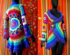 Crochet Coat - Purple Aztec Sun Mandala And Granny Squares by babukatorium | eBay