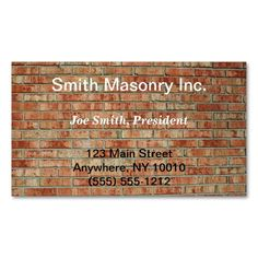 Masonry business card estate agent business card templates masonry business card this great business card design is available for customization all text style colors sizes can be modified to fit your needs colourmoves
