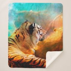 Pre- Order  Pre-order today! Your design will be made and shipped as soon as our manufacturers are ready to begin production.  Tiger and Nebula Sherpa Blanket  $77.27  by ErikaKai  - cyo diy customize personalize unique