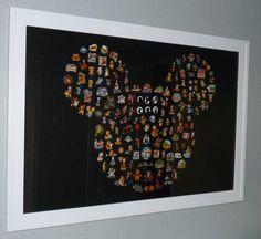 Disney pins framed in Mickey Head