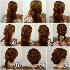 Easy hairstyle with braids Fancy Hairstyles, Creative Hairstyles, Braided Hairstyles, Easy Hairstyle, Beauty Tips For Hair, Hair Beauty, Cool Hair Designs, Peinados Pin Up, Hair Upstyles