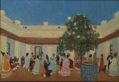 THE ARTS: Pedro FIGARI (1880-1938) Patio: in Museo Bellas Artes. Older casas all have these patios here. And sometimes you will see people dancing in them, even now.