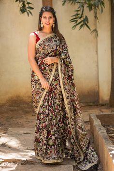 Block printed Kalamkari soft cotton silk saree with gold mesh edging #saree #blouse #houseofblouse #indian #bollywood #style #ethnic #blockprint #kalamkari #black #maroon #green