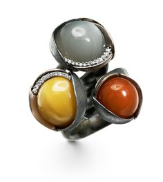 Ole Lynggaard Copenhagen Lotus Rings with Grey Moonstone, Coral and Amber cabochons and diamonds in oxidized silver and 18ct yellow, white and rose gold - Kennedy Jewellers