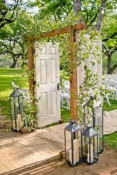 Gorgeous Wedding Arch Inspiration Lanterns and green plants . - Bild + Gorgeous Wedding Arch Inspiration Lanterns and green plants . Wedding Ceremony Arch, Outdoor Ceremony, Wedding Doors, Wedding Ceremonies, Ceremony Backdrop, Wedding Archways, Rustic Backdrop, Wedding Lanterns, Lantern Wedding Decorations