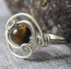 tigers eye, silver, ring
