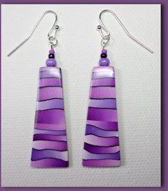 Polymer Clay Purple Rainbow Earrings handmade by BeadazzleMe, $18.00