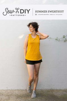 Summer Sweatsuit PDF Pattern — Sew DIY Sewing Shirts, Sewing Clothes, Pdf Sewing Patterns, Free Sewing, Summer Set, Summer Tank Tops, Digital Pattern, Refashion, Vintage Inspired