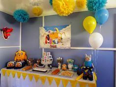 Adventure Time Party.. Love the colors. I would use a bright green table cloth instead