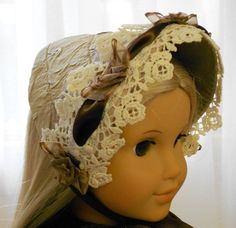 "American Girl Doll Clothes - Doll Hat - Early Spring Bonnet of the mid 1800's from the ""Mad Hatterie"". $20.00, via Etsy."