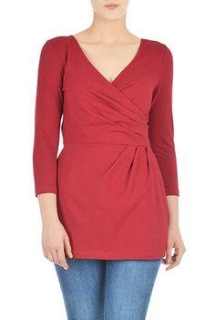 I <3 this Cotton knit faux wrap blouse from eShakti
