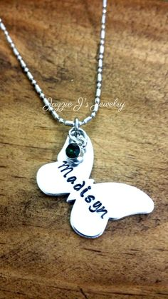 Personalized Butterfly Hand Stamped Necklace, Butterfly Necklace, Daughter Necklace, Little Girl Jewelry, Name Necklace, Child's Necklace by JazzieJsJewelry on Etsy