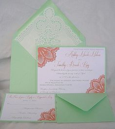 Mint Green Wedding Invitations Coral Peach Doily Lace