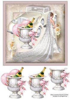 - A beautiful bride with wedding car and champagne bucket on a softly framed stacked floral paper background, Three levlesof c. Free Printable Christmas Cards, Free Printable Cards, Printables, Wedding Cards Handmade, Image 3d, Step Cards, Wedding Anniversary Cards, 3d Cards, Wedding Scrapbook