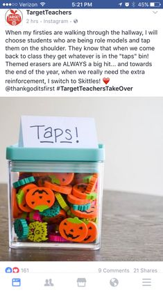 Taps rewards for being a good student in the hallways and such 2nd Grade Classroom, Kindergarten Classroom, Future Classroom, School Classroom, Classroom Ideas, Classroom Activities, Elementary Teacher, Elementary Education, School Teacher