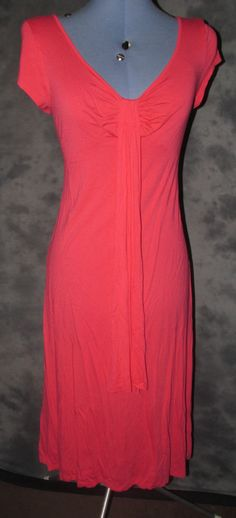 Marks+Spencers,ladies,size 14,coral,no pattern,vneck,sleeveless,casual,tea dress