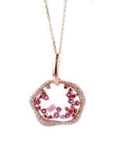 Necklace in 18K rose gold with round diamonds, rose quartz and pink tourmaline.