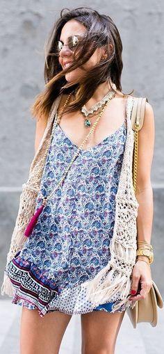 #summer #boho #style #outfitideas |Blue Floral Deep V-Neck Tunic Dress