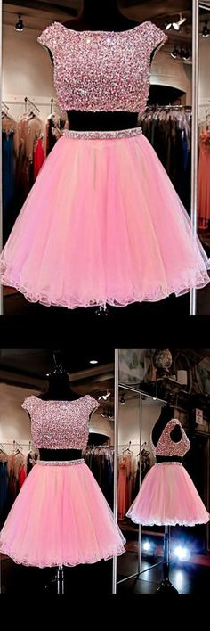 homecoming dresses,2016 homecoming dresses,pink homecoming dresses,two-piece…