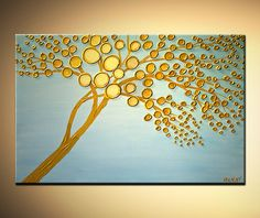 Gold Blooming Tree Painting Abstract Landscape by OsnatFineArt