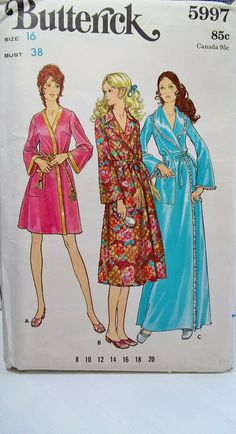 Misses' Retro Robes Butterick 5997 Vintage Sewing Pattern