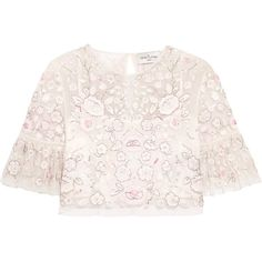 Needle & Thread Rosette embellished embroidered tulle top ($285) ❤ liked on Polyvore featuring tops, summer crop tops, pink crop top, loose tops, sheer tops and loose crop tops