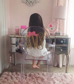 Clear Monogrammed Ghost Chair. Mirrored Vanity, Gold And Pink Room. Insta:  Msolecito917