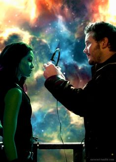 Gamora and Peter Quill. Especially when Gamora tries to slit Peter's throat. And Fooled around and fell in love was the perfect background score! Star Lord, Gardians Of The Galaxy, Marvel Dc Comics, Marvel Heroes, Marvel Avengers, Peter Quill, Film Science Fiction, Hooked On A Feeling, Film Serie