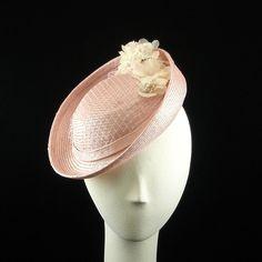 Handmade Wedding Fascinator Vintage Style Pink Straw Evening Hat Cocktail Hat w Vintage Trim