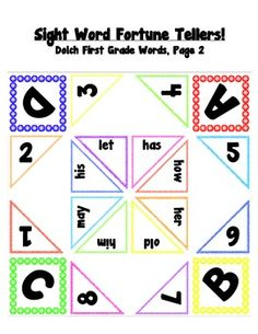 Sight Word Cootie Catchers for Kindergarten, 1st, 2nd.......if not for the kids, than at LEAST for me ;)