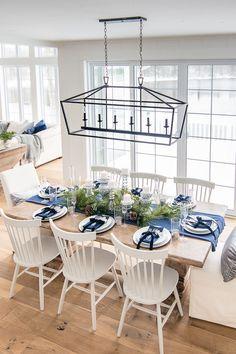 Farmhouse Dining Room Table, Dining Room Table Decor, Dining Table Design, Dining Room Sets, Dining Table Settings, Dining Table Decorations, Dining Tables, Wood Table, Dinning Room Ideas